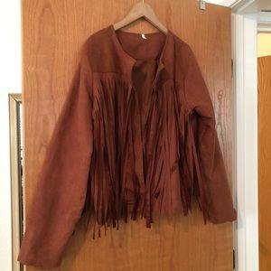 Tops - Faux Suede Cropped Tassel Jacket XL